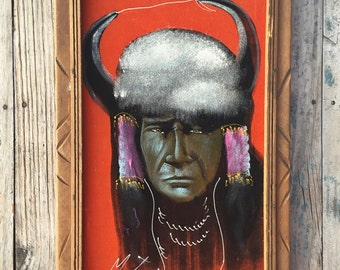 Rare 1960's 1970s orange velvet painting Indian warrior 11 x 20 carved frame, kitschy black velvet retro art, vintage velvet Native American