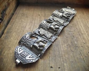 Peruvian Bracelet 66gm Sterling Silver Panel Storyteller Bracelet Silver Link Cuff Bangle