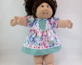 """Cabbage Patch Doll  Dress and Panties Pink Floral  with Green Border and Panties 16 """" Doll Outfit Toys"""