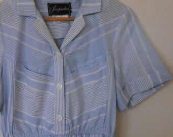 sky blue stripes...1980s does the 50s vintage day dress