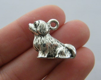 2 Dog charms antique silver tone D62