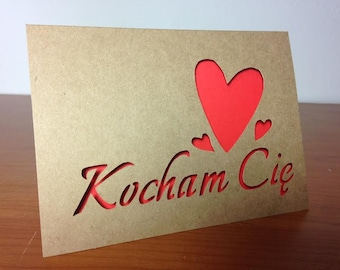 Kocham Cię - I love you in Polish - kraft paper cut out card with red insert