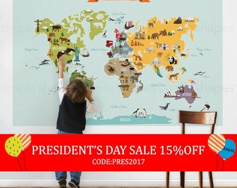 President's Day Sale - World Map - Peel and Stick Poster Sticker