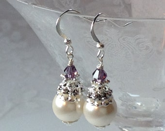 Creamy White Pearl and Amethyst Bridesmaid Earrings