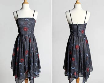 Vintage Chiffon Handkerchief Summer Dress - Sheer Black Red Floral Roses Flowers Day Dress Strappy Dance Sleeveless Cocktail Party - Size XS