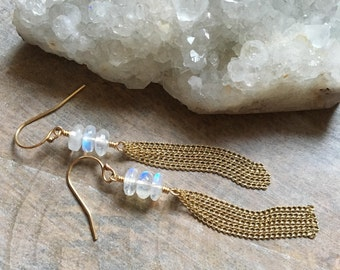 Rainbow Moonstone Tassel Earrings,  Moonstone Gemstone Tassel Dangle Earrings, Gold Filled Earrings, Boho Jewelry