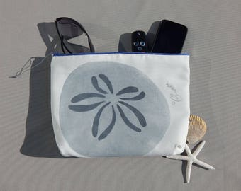 "EVERYTHING BAG sand dollars zippered case tablet cosmetic makeup 9""x12""x2.5"" travel pouch toiletry purse organizer lined washable clutch"