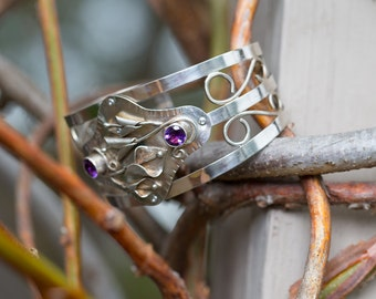 Calla Lily and Amethyst Hand Wrought Cuff