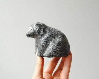 Vintage Bear Figurine, Handmade Bear Statue