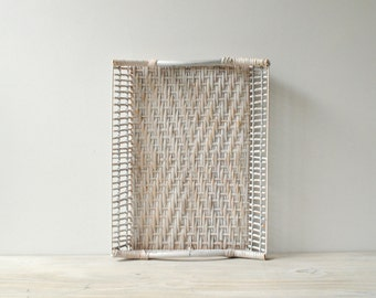 Vintage Basket Tray, Wicker Tray, Filing Basket, File Tray