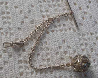 Vintage Vest Pocket Watch Chain Silver Tone Ball Fob