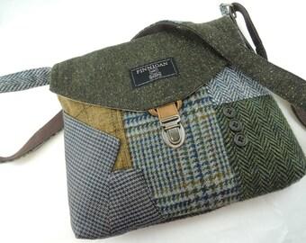 Crossbody bag, Crossbody Purse, Recycled Crossbody Purse, Handbag, Gift for her, iPhone pocket,Recycled mens suit coat