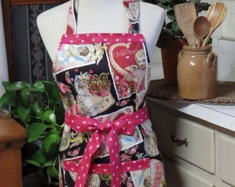 Mother and Daughter Valentine's Day Aprons ... Vintage and Adorable.