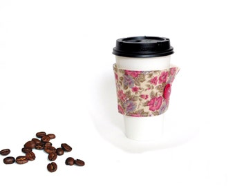 Hot coffee sleeve, coffee jacket, pink fabric cozy, coffee cup holder, coffee to go cup, coffee cozy, coffee lover gift, cotton fabric cozy