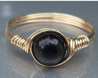 15% OFF SALE Black Obsidian 14k Gold Filled Wire Wrapped Ring Custom Sized For You