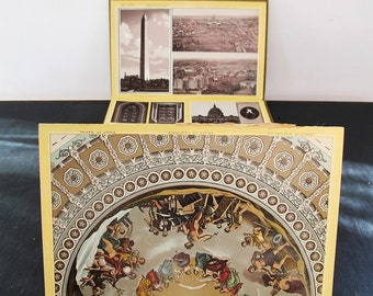 "Washington DC Grisaille Chromo Lithographs Panorama Book 54"" Fold Out 1880s Birds Eye"