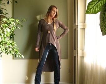 Boho Tunic Shift Dress Long Sleeves Asymmetric Minimalist Tee Shirt Dress Lagonlook Midi - Rayon/Spandex  XS - L (More Colours)