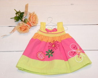 Cotton Summer Dress and White Cotton Panties - 16 - 17 inch doll clothes