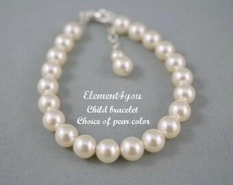 Child bracelet, Flower girl bracelet, Simple Pearl bracelet, Swarovski pearls, Classic pearl bracelet, Flower girl jewelry, Sterling silver.
