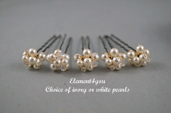 Bridal Hair pins Ivory or white pearls cluster Swarovski Crystals Silver gold wired pins Hair piece Bridesmaid gift Wedding Accessories