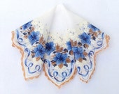 Large Handkerchief Blue and Brown Flowers Hand Painted Vintage