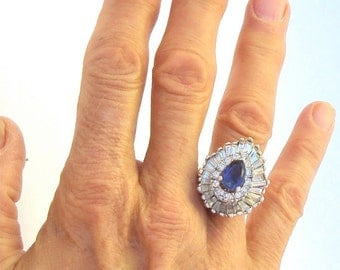 Large Ring, Blue Crystal CZ, Clear Rhinestones, Super Bling, Vintage