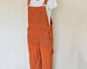 Orange Medium Bib OVERAL Pants - Orange Dyed Upcycled Gap Cotton Denim Overalls - Adult Womens Size Medium (38 W x 29 L)