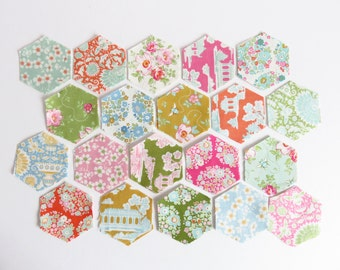 1 Inch English Paper Piecing 40 Hexagon Fabric and Paper, Tilda, Bumblebee.