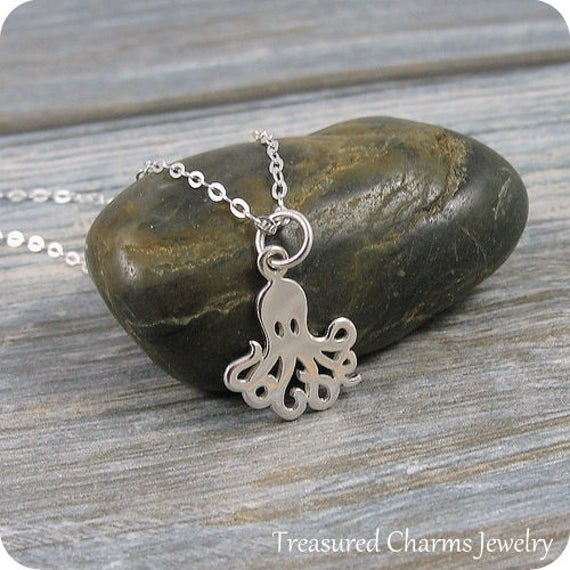 Octopus Necklace, Sterling Silver Octopus Charm on a Silver Cable Chain