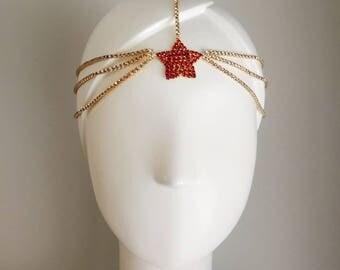 Gold Wonder Woman Headpiece Head Chain Head Band Headband Red Star Costume