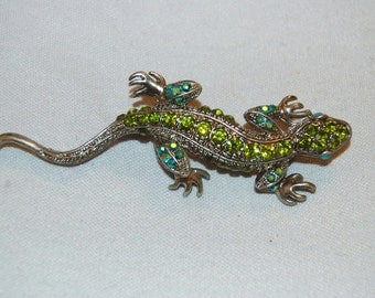 Vintage /Aurora Borealis / Green / Brooch / Lizard / Rhinestones / Old / Jewellery / Jewelry /