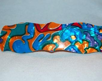 Barrette Hair Clip / France  French / Multicolor / old jewelry barette