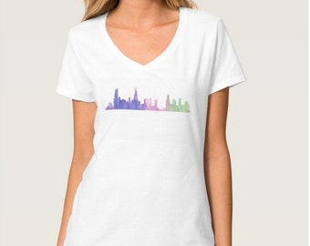 Chicago Skyline V Neck Shirt