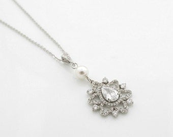 Pendant Wedding Necklace Crystal Drop Bridal Necklace Pearl Silver Pendant Necklace Bridal Jewelry, Fiona