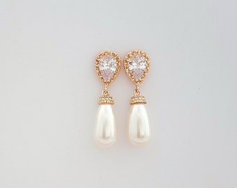 Rose Gold Pearl Earrings Bridal Pearl Earrings Swarovski Pearl Drop Earrings Rose Gold Wedding Earrings Bridal Jewelry, Aria