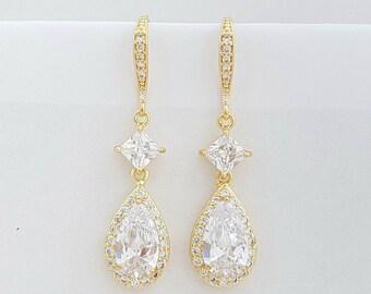 Gold Crystal Drop Bridal Earrings Gold Wedding Earrings Cubic Zirconia Gold Dangle Earrings, Lena Earrings