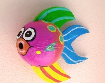 Coconut Fish Tropical Fish Hand Painted and Hand Crafted Bright Pink Palm Seed Pod Frond