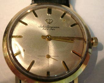 Vintage 14KT Gold Jules Jurgensen Man's Mechanical Wristwatch Dress Watch