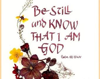 Bible verse, scripture card, Be Still, Old Testament, psalm, celtic calligraphy, healing cards, inspiration, encouragement.