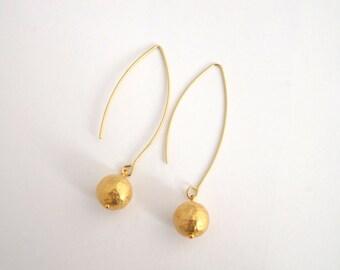 Simple Gold Earrings, Long Gold Dangle Earrings, Hammered Brass Earrings, Gift for her