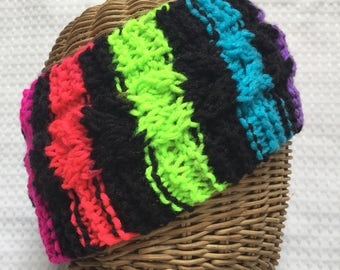 Hand knit 80s rainbow  striped cabled ear warmer head band