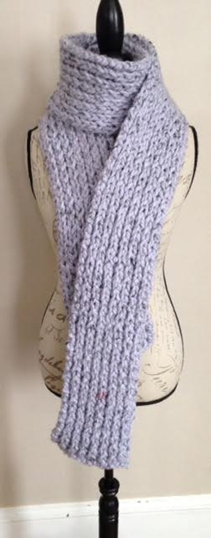 Chunky Pale Lavender Purple Tweed Rib Knit Scarf