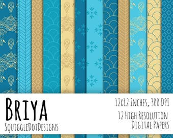 Hand Drawn Digital Printable Background Paper for Web Design, Crafts, and Scrapbooking Set of 12 - Briya - in Blues, Yellow, and Gold
