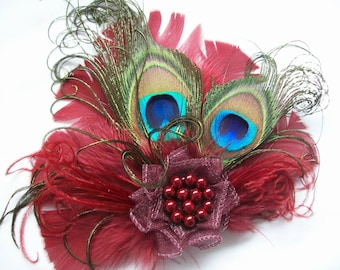 Small & Dainty Burgundy Wine Marsala Peacock Feather and Pearl Vintage Mini Hair Clip Fascinator Wedding Hat Clip- Made to Order