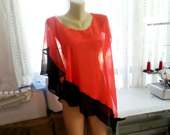 Trendy Plus size Clothing Asymmetrical Top Evening Coral Red&Black Chiffon Women Top Blouse Plus Size Vest