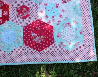 Custom Baby Quilt / Quilts for Girls  /  Red Aqua Quilt  /  MADE TO ORDER
