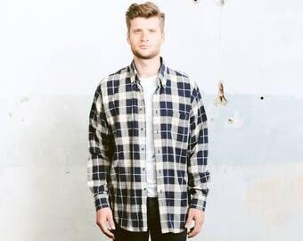 Oversized Men's Shirt . Vintage 90s Plaid Flannel Shirt Men's Checkered  Button Up Grunge Shirt Pattern Lumberjack Jacket . size Extra Large