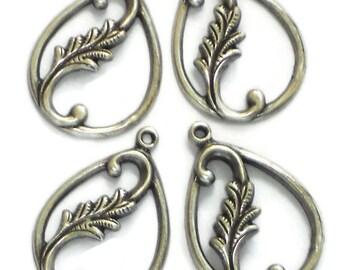 Vintage Leaf Finding Connectors Silver Victorian Art Nouveau Pear Drops. #1414