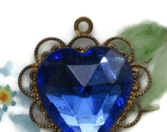 Vintage Heart Pendant Rhinestone Sapphire Faceted Lace Valentines Day NOS. #1162C