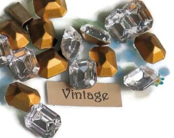 Vintage Octagon Swarovski Rhinestones Crystal 8x10mm Bright Faceted Gold Foil NOS Stones New. #912G